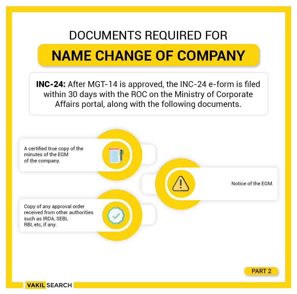 documents required for company name change